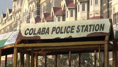 Police barriers in front of Taj Mahal Palace Hotel in Mumbai, India - stock footage