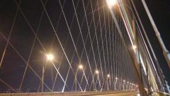 Traffic on modern highway through new Bugrinsky bridge Stock Footage