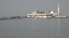 Haji Ali Mosque in Mumbai, a popular pilgrimage site for Indian Muslims Stock Footage