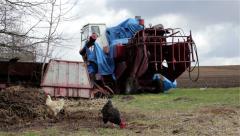 Combine harvester old farm Stock Footage