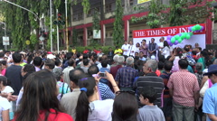Local political leaders give a speech at environment rally in Mumbai, India Stock Footage