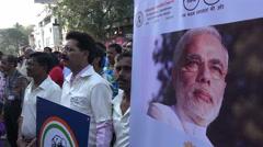 Citizens movement, banners, environmental awareness, PM Modi, Mumbai India - stock footage