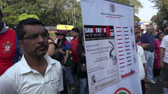 Mumbai, protest gathering, people holding banners, sanitation, cleaner India - stock footage