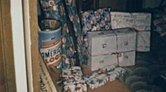USA 1956: Christmas presents for children hidden Stock Footage