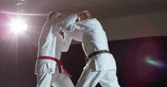 Two martial arts athletes during practice - stock footage