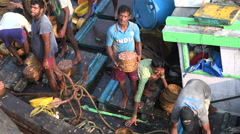 India fishermen, cricket shirt, throwing baskets freshly caught shrimp on shore Stock Footage