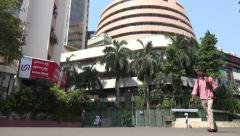 Bombay Stock Exchange building, India economy, business and finance Stock Footage