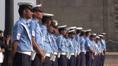 Indian Navy, personnel waits to start a parade in Mumbai Stock Footage