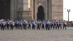 Indian Navy music parade, Gateway of India in Mumbai, army personnel Stock Footage