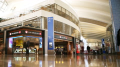 4K Time Lapse of LAX International Terminal & Duty Free Store -Pan Left- Stock Footage
