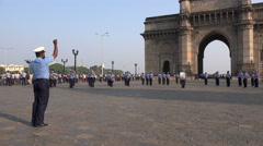 Gateway of India, navy marching band, military personnel playing music Stock Footage