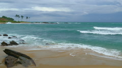 Landscape with stormy sea beach under moody sky Stock Footage