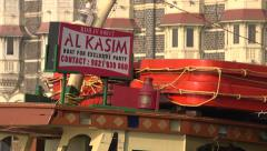 Tourist boat in front of the Taj Mahal Palace Hotel in Mumbai - stock footage