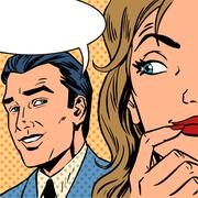 man and woman talking comics retro style - stock illustration