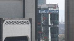 Mumbai, Bank of India office, Bandra Kurla Complex, business and finance Stock Footage