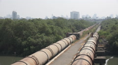 Massive pipelines provide Mumbai city with fresh water Stock Footage