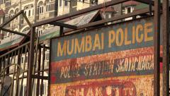 India, Mumbai police barrier, Taj Mahal Palace Hotel, security measures Stock Footage
