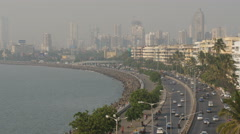 Mumbai skyline, Marine Drive, traffic and transport, India city, urban scene - stock footage