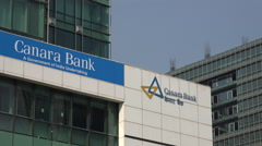 Office of a major Indian bank at the Bandra Kurla Complex in Mumbai Stock Footage