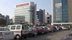 Mumbai India, business and financial center, parking lot, office towers, banking Stock Footage