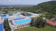 Aerial view of small local water park. Stock Footage