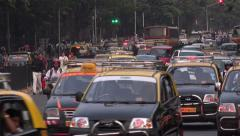 Busy traffic during rush hour on the streets of Mumbai, India - stock footage