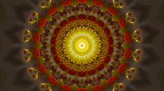 Abstract floral kaleidoscopic pattern in green, brown, red and yellow colors. Stock Footage