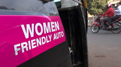India, women friendly auto, security, female, safety, transportation, violence - stock footage