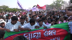 India, teachers protest, crowd gathering, banner, activism, demonstration - stock footage
