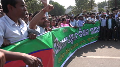 Teachers protest, marching through the streets, wages, salary, India Stock Footage