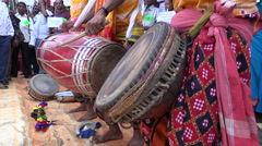 India, teachers protest, traditional music, drum, performance Stock Footage
