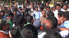 India, television interview, teachers protest, demonstration, camera, journalism Arkistovideo