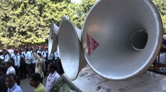 India, speakers during teachers demonstration for better wages Stock Footage