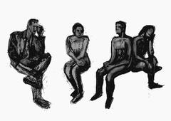 Sitting people hand drawn charcoal graphic composition with four figures - stock illustration