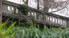 Old Balustrade with Barbed Wire 2 - stock footage