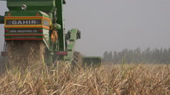 Rice harvest, combine harvester, agriculture, rural, village, India - stock footage