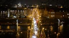 Night city - urban street (bridge) with cars - lights Stock Footage