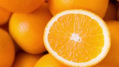 Closeup of sliced oranges Stock Footage
