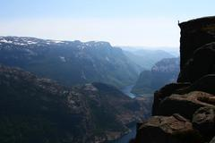 Standing at the Edge - Norwegian Fjord Stock Photos