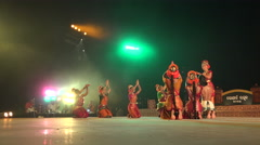 Traditional dance ceremony, religion, performance, mysterious, night, India - stock footage