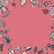 Cute cartoon insect border pattern. Summer concept background. - stock illustration
