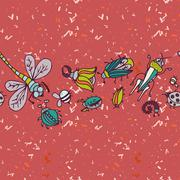 Cute cartoon insect border pattern. Summer concept background. Stock Illustration