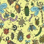 Cute cartoon insect pattern. Summer concept texture. - stock illustration