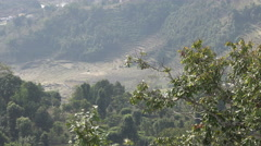 Farmland and dry rice paddies behind trees in Nepal Stock Footage