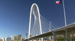 Margaret Hunt Bridge With American And Texas Flags Stock Footage