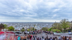 Paris panoramic view from the top of montmartre timelapse Stock Footage