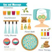 spa and massage  infographic - stock illustration