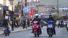 Pokhara Lakeside, the main tourist street in the city, Nepal tourism Stock Footage