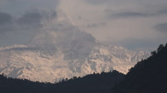 Nepal time lapse Machapuchare peak Himalaya mountains Annapurna landscape clouds Stock Footage