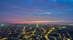 View of Paris and Eiffel Tower from Montparnasse tower timelapse twilight Stock Footage